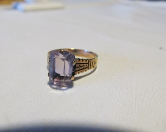 1800s  Amethyst Ring Antique Victorian Rose Gold Ring Emerald cut Amethyst Ring Lavender Amethyst 14kt Rose Gold February Birthstone