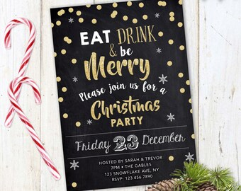 Christmas Party Invitation, Rustic Christmas Invite, Chalkboard invitation, christmas party, christmas invitation, printable,eat drink merry