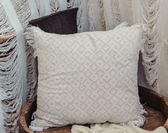 Boho Throw Pillow Cover 20x20 inch Cushion Cover, Geometric Diamond White Cotton Square Pillow Case, Decorative Pillow