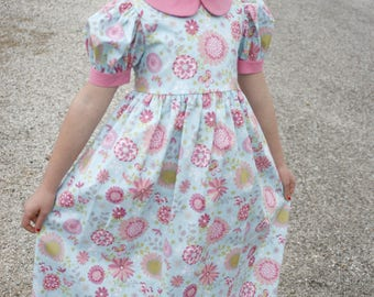 Girls Long Modest Light Blue and Pink Floral Classic Peter Pan Collar Spring Easter Dress Size 6