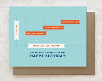 Funny Birthday Card, Boyfriend Birthday Card, Girlfriend Birthday Card, Birthday Card for Him, Card Best Friend, Funny Bday Card - Awesome