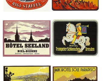 international luggage labels, Carcassonne, Dresden, vintage printable digital collage sheet no. 393
