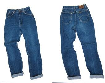 High Waist Blue Jeans Worn In Denim Boot Cut Leg Mom 1980s Jeans Vintage Farmers Mechanics 80s LEE Hipster Grunge Womens XS Small