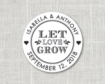 Let Love Grow Floral Wedding Stickers, Wedding Favor Stickers, Flower Wedding Labels, Name Wedding Stickers