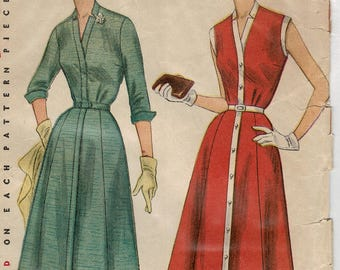 Simplicity 4220, 1950s Misses Dress Sewing Pattern, Fit & Flare Dress Buttons in Front, Tissues ARE printed, Ladies size 18 bust 36 Complete