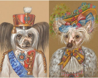 Chinese Crested Couple - 2 Art Prints - Cavalryman and Lady Gardener - Chinese Crested Dog Prints - Funny Pet Portraits by Maria Pishvanova