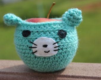 Cat Apple Cozy, Apple Cozy, Teacher Gift, Cat Gift, Lunch Box Accessory, Crochet Apple Cozy, Teacher Present, Cozy, Cat, Blue Cat