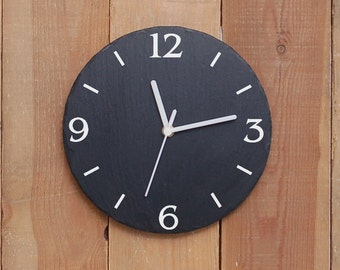 Contemporary Round Slate Clock- sandblasted and infill painted (SR1152)