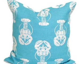 BEACH DECOR Sale, 16x16 Pillow, BLUE Pillows, Pillow Cover, Decorative Pillow, Throw Pillow, Lobster Pillows, Accent Pillow, Pillow Covers,