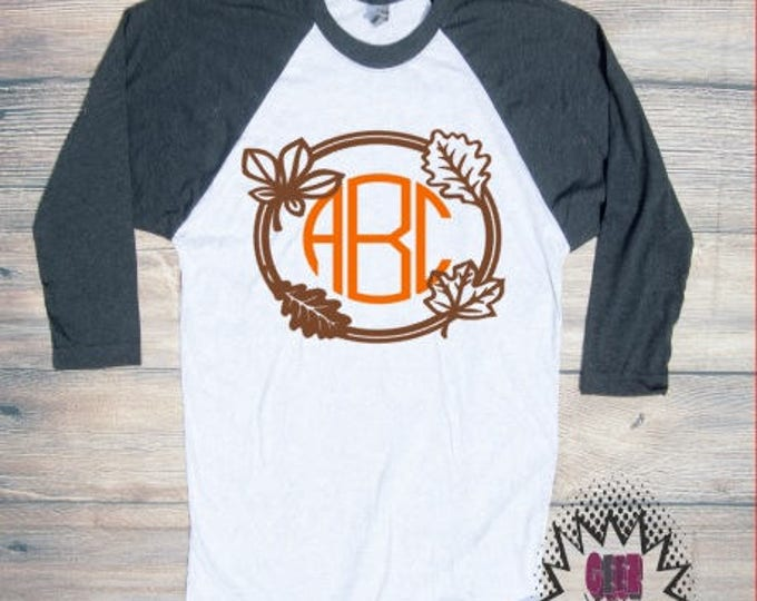 Fall Monogram Tshirt raglan tee baseball fall autumn trick or treat thanksgiving leaves personalized autumn pumpkin spice