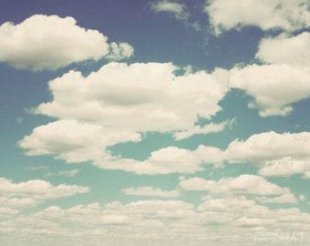Dreamy fine art print, surreal, blue, clouds, nursery decor, wall art, nature photograph - Big Sky