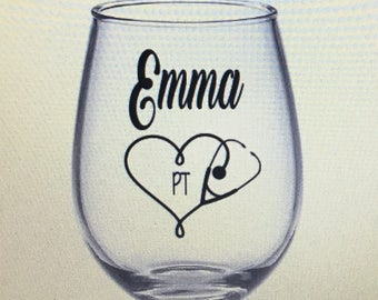 Physical therapy wine glass. Physical therapy gift. Physical therapist gift. Physical wine glass. Physical therapy school. Pt gift