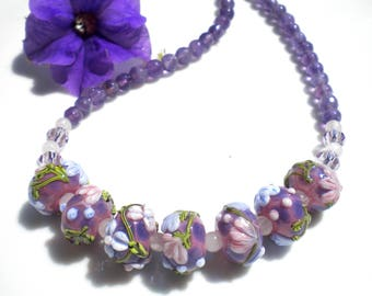 Lampwork Beaded Artisan Necklace Murano Venetian Glass Amethyst Semi-Precious Gemstones