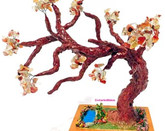 Red Agate and Citrine Beaded Wire Tree | Beaded Bonsai Tree | Wire Tree Sculpture