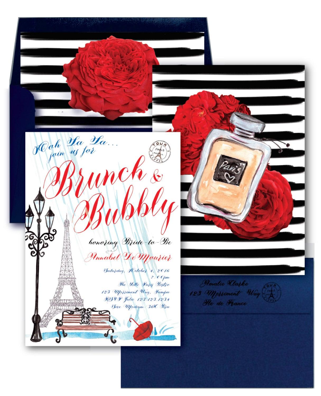 Paris Brunch and Bubbly Invitation // Paris Bridal Shower Invitation ...