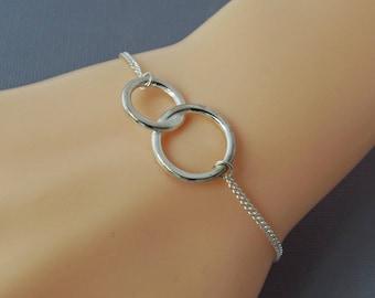 Sterling Silver Interlocking Ring Bracelet, Infinity Bracelet, Karma Jewellery