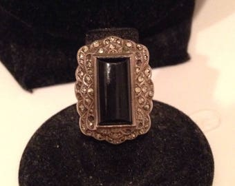 1920 Black Onyx & Malachite Deco Sterling Silver Ring