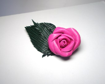 Pink Leather Rose Flower Barrette free shipping