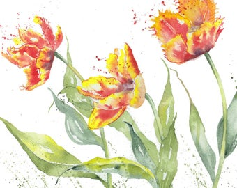Dancing Tulips - A fine digital Print from a watercolour by Pauline Merritt