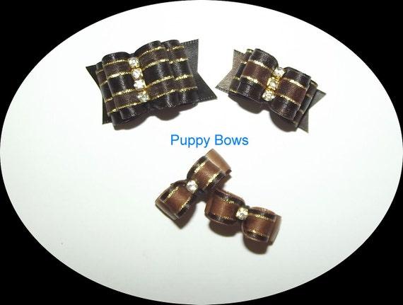 Puppy Bows ~ Brown Gold rhinestone centers SHOW BOW Shih Tzu pet hair  ~USA seller   (fb30)