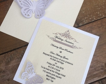 Butterfly wedding invitation with RSVP and envelope