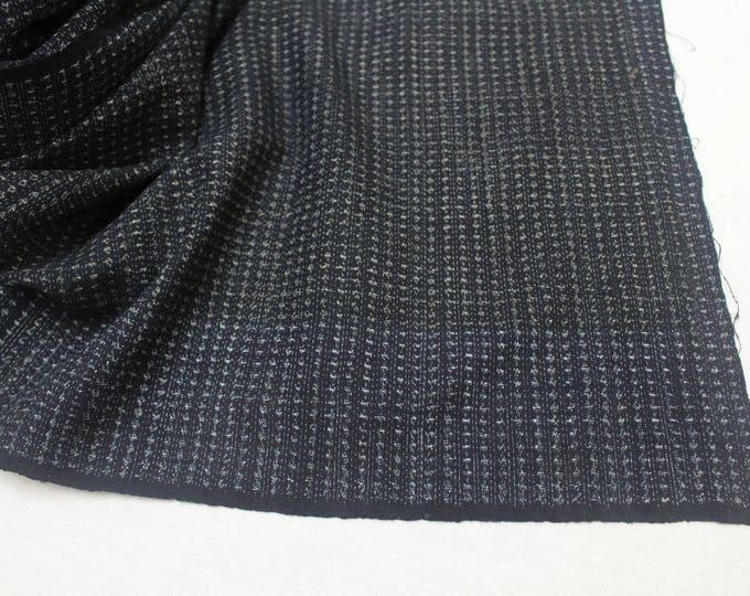 Hand Loomed Antique Cotton. Japanese Kasuri Kagasuri Ikat. Dark Indigo Blue Black Scarf. (Ref: 1589A)