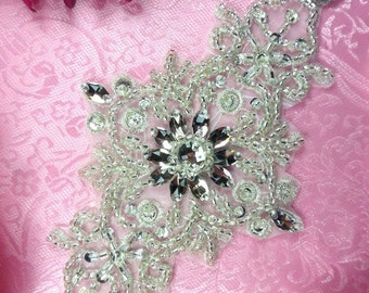 "JB128 Applique Glass Rhinestone Silver Beaded 7"" (JB128-slcr)"