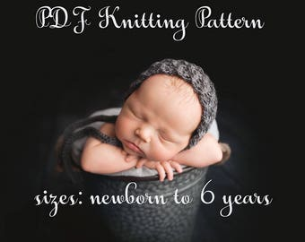 pdf knitting pattern, pdf knitting tutorial, baby bonnet, newborn bonnet, toddler bonnet, warm bonnet, knit pattern baby, bonnet pattern