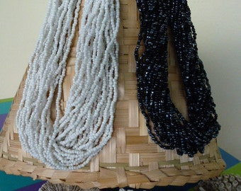 Wholesale necklace, necklace beads, long necklace mi, seed beads, Multi strand, white, black, women gift, gift for her, mother's day, MOM, MOM