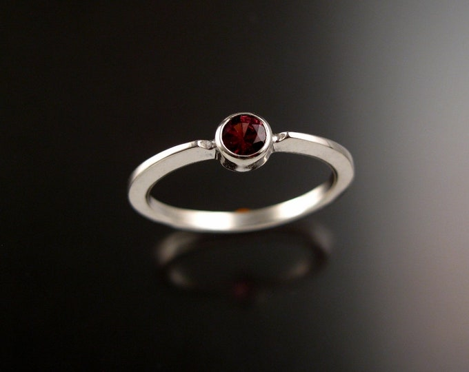 Natural Pink Tourmaline 4mm round stone ring 14k white Gold ring Made to order in your size Stackable Mothers ring