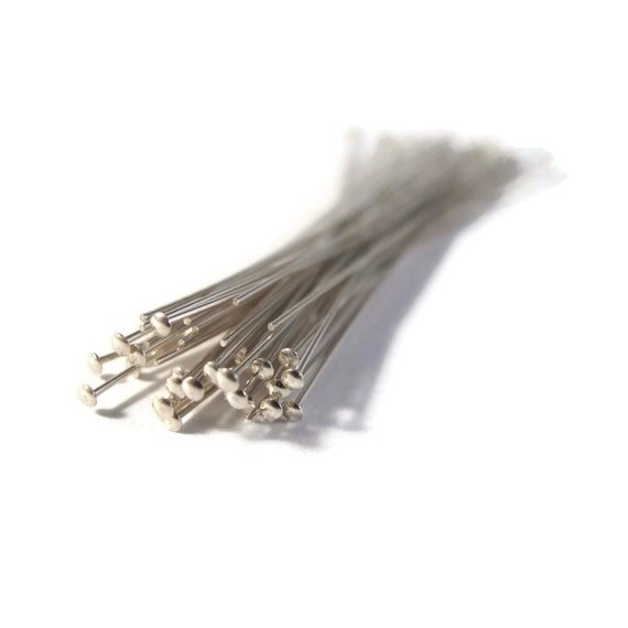 3 Inch Headpins, 10 Sterling Silver Headpins, 24 Gauge, 10 Count, Sterling Silver Findings, Set Of Ten, Jewelry Supplies (F-405ds)