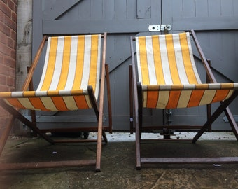 Festival / garden / bbq / patio deck chairs - vintage / retro canvas and wood