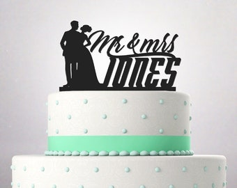 Wedding Cake Topper Mr and Mrs Surname funny young couple african american bride and groom Custom Personalized Date 092
