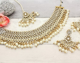 Gold Silver Indian Bollywood Necklace Set with Earrings, Tikka Headpiece  Bridal Wedding