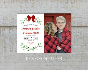 Elegant Christmas Wedding Photo Save The Date Card,Mistletoe,Red Bow,Red,Green,Shimmery,Personalize,Printed Cards,Envelopes