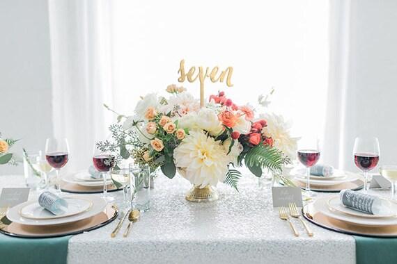 Flower Centerpiece Number, Wedding Centerpiece Table Number, Script Table Numbers, Wedding Number Set, Table Number Glitter, Table Numbers