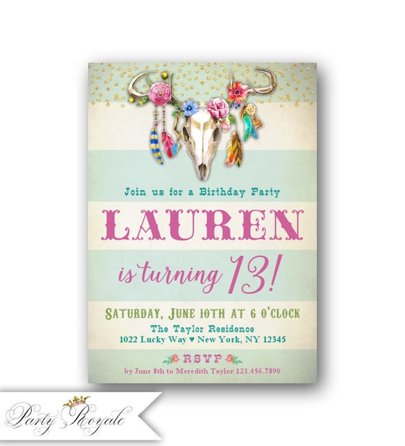 Boho 13th Birthday Invitations for Teen Girls Colorful