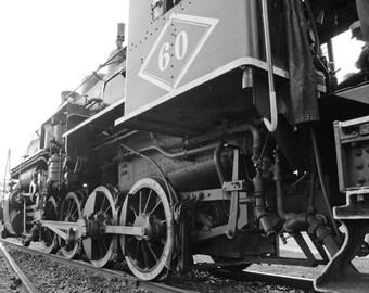 Steam train print, train decor, black and white photo, train wall art, steam locomotive, fine art print, boys room decor, train photograph