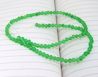 """strand Round Green Jade Beads ----- 3.5mm ----- about 90Pieces ----- gemstone beads--- 15"""" in length"""