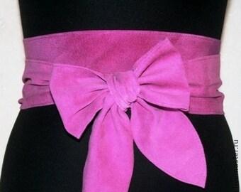 Pink suede obi belt Leather obi belts Genuine Italian leather belts