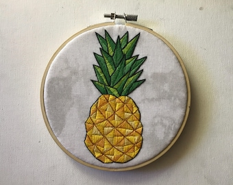 Pineapple Embroidery Wall Hanging