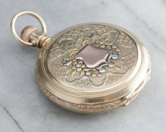 Victorian Signet Ornate Pocket Watch, Antique Waltham Gold Pocket Watch FQ3XMN-D