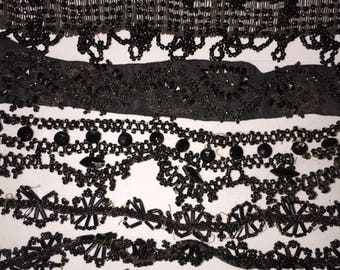 Authentic Victorian Beadwork Pieces Antique 1880s Black Mourning Beaded Pieces Destash for Re-USe and Projects