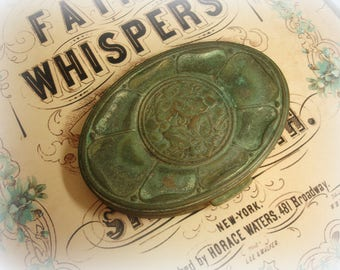 vintage art nouveau compact brass oval with patina hinged lid