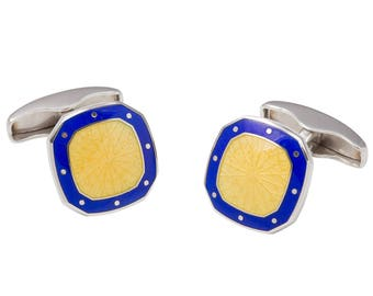 Sterling Silver Blue & Yellow Enamel Pattern Octagon/Square Cufflinks with Swivel