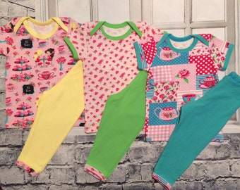 baby girl clothes - 3 pants sets - you pick size - tea time clothing - baby girl clothing - floral tops - infant tops - boutique baby items