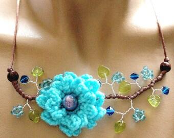 Blue crochet Flower necklace branch beads