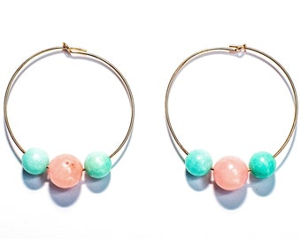 14K Rose Gold 30mm Hoops with Rose Quartz and Aqua Quartzite beads.