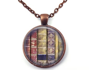 Library Necklace or Key Chain - Book Necklace - Gift for Writer - Book Necklace - Literary Librarian Gift - Book Lover Gift