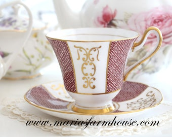 TEA CUP, Vintage, English Bone China, Footed Tea Cup & Saucer by Tuscan, Tea Party, Replacement China - ca. 1947+